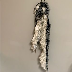 Taleen Ivory Fashion Scarf with Frayed look